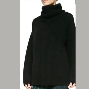 Theory Black Naven Loryelle Funnel Neck Sweater/M